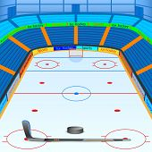 picture of hockey arena  - vector illustration of ice hockey ground with stick and puck - JPG