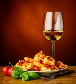 Traditional Tortellini Pasta And Wine