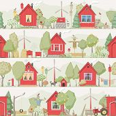 Seamless background - eco village ( red houses )