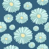 Blue gerbera flowers seamless pattern. Vector illustration.