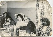 LODZ, POLAND, CIRCA 1970's: Vintage photo of mature newlyweds during a party