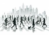 stock photo of city silhouette  - Walking people in city isolated on background - JPG