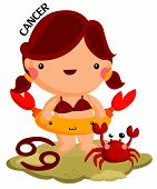stock photo of cancer horoscope icon  - cancer sign by girl and a cute little crab - JPG