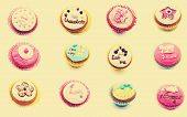 picture of eat me  - Mural of cupcakes vintage on a white background - JPG