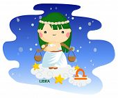 stock photo of libra  - libra sign by the picture of kids and weight scale - JPG
