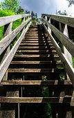 picture of stairway to heaven  - Natural wooden stairway to heaven in austrial Alps - JPG