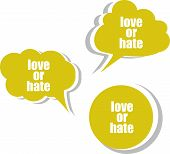 stock photo of hate  - love or hate word on modern banner design template - JPG