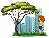 pic of clip-art staff  - Illustration of a woman using her phone outside the office on a white background - JPG