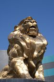 stock photo of las vegas casino  - A large golden statue of a lion at the MGM hotel and casino in Las Vegas - JPG