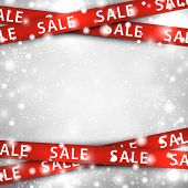 picture of ribbon  - Winter background with red sale ribbons - JPG