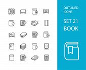 stock photo of stroking  - Outline icons thin flat design - JPG