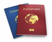 pic of personal safety  - Group of color biometric identity passports or personal ID isolated on white background - JPG