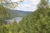 foto of kan  - Landscape on the Siberian taiga and river Kan - JPG