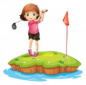 picture of ladies golf  - Illustration of an island with a girl playing golf on a white background - JPG
