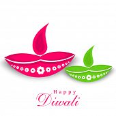 image of diwali  - Happy Diwali celebration with illuminated oil lit lamps and stylish text of Happy Diwali on white - JPG