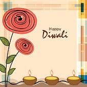 image of diwali lamp  - Stylish illuminated oil lit lamps with flowers design and text of Diwali for Diwali celebration on stylish background - JPG