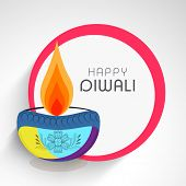 image of diwali  - Celebration of Diwali with illuminated oil lit lamp and stylish text of Happy Diwali - JPG