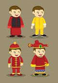pic of traditional attire  - Vector illustration of cartoon boy in different traditional Chinese costume - JPG