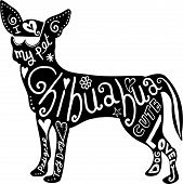 stock photo of chihuahua  - Hand drawn illustration of a chihuahua dog silhouette with doodle text and shapes added to it - JPG