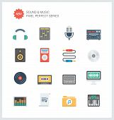pic of musical symbol  - Pixel perfect flat icons set of sound symbols and studio equipment music instruments audio and multimedia objects - JPG
