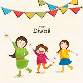 picture of diwali  - Little cute kids holding fire crackers and stylish text of Diwali for Diwali celebration on beige background - JPG