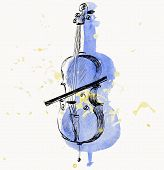 picture of string instrument  - hand drawn of classical stringed music instruments - JPG