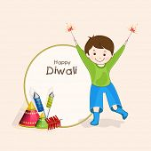 pic of diwali  - Stylish rounded frame with text of Diwali and little cute boy holding fire crackers for Diwali celebration on beige colour background - JPG