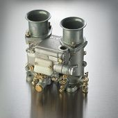 stock photo of carburetor  - Italian carburetor used in high performance sports cars - JPG
