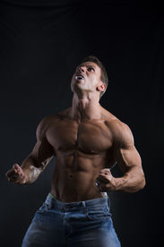 picture of transformation  - Shirtless Muscle Man with Pointed Teeth Transforming into Werewolf in Studio with Black Background - JPG