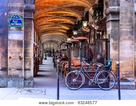 Urban Street View In Paris. Bistro Cafe Parisian