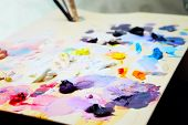picture of paint palette  - art paint palette with brushes and colorful paints - JPG