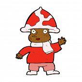 image of magical-mushroom  - retro comic book style cartoon mushroom man - JPG