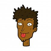 stock photo of sticking out tongue  - retro comic book style cartoon man sticking out tongue - JPG
