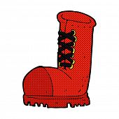 stock photo of work boots  - retro comic book style cartoon old work boot - JPG