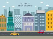 image of suburban city  - modern city street concept in flat design style - JPG