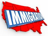 foto of citizenship  - Immigration 3d word on red map of United States of America illustrating reform in status for legal residency or citizenship for aliens - JPG
