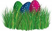 image of egg-laying  - 3D colored and ornated easter eggs laying in the grass field - JPG