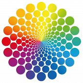 image of infinity symbol  - Flower symbol graphic made of geometrically arranged rainbow colored circles that nearly approach infinity towards the center - JPG