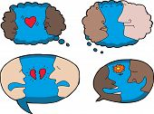 stock photo of broken heart flower  - Isolated dialog bubbles with persons of various expressions - JPG