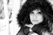 pic of grayscale  - Closeup portrait of a pretty woman in winter in grayscale - JPG