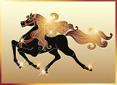 image of galloping horse  - Galloping black horse with golden mane and stars - JPG