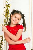 foto of t-shirt red  - The picture of a beautiful girl in a red t - JPG