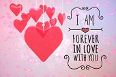 stock photo of girly  - Valentines message against digitally generated girly heart design - JPG