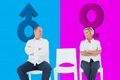 pic of not talking  - Upset couple not talking to each other after fight against pink and blue - JPG