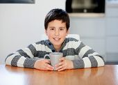 pic of preteen  - Preteen boy breakfast on the stairs at home - JPG