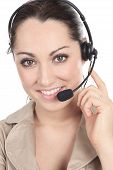 image of telephone operator  - Customer support operator close up portrait - JPG