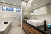 picture of bathroom sink  - Modern luxury bathroom in european white style - JPG