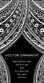pic of lace-curtain  - flyer design with vector white lace on black background - JPG
