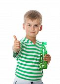 stock photo of drinking water  - Boy drinking water isolated on white background - JPG