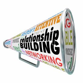 image of clientele  - Relationship Building words on a bullhorn or megaphone to illustrate strengthened ties or bonds with customers - JPG